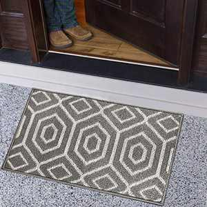 ZVV Indoor Doormat, Absorbent Front Door Mat 20 x 32 inches, Low-Key Interior Floor Mat Entrance Door Carpet with Rubber Backing, Non-Slip, Mud Mousetrap, Machine Washable (Grey, A)