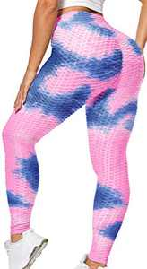 BURUNST High Waist Yoga Pants for Women Tummy Control Slimming Leggings Workout Running Butt Lifting Tight(A-Blue Pink,S)