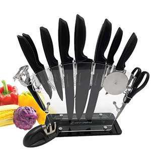 Savvy Lifestyle 17 Piece Kitchen Knife Set and Modern Acrylic Stand,13 Stainless Steel Kitchen Cutlery Set, 6 Steak Knives, Peeler, Scissors, Sharpener, Pizza Cutter Wheel