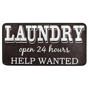 Laundry Room Open for 24 Hours Sign Kitchen Floor Mats Non-Slip Modern Polyester Indoor Outdoor Aqua Area Rugs Living Room Bath Doormat Home Decor Runner Rug, 39x20in