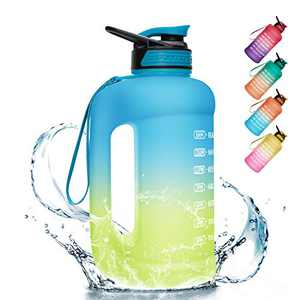 PASER Half Gallon Water Bottle with Straw & Dual Handle,64oz Motivational Water Bottle with Time Marker Leakproof BPA Free for Camping Sports Workouts and Outdoor Activity