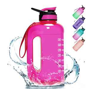 PASER 1 Gallon Water Bottle,Leakproof Large Water Bottle with Time Marker and Straw,BPA Free Sports Water Jug for Camping Sports Workouts and Outdoor Activity