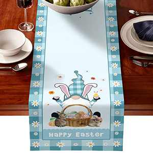 boyspringg Bunny Tail Easter Eggs Table Runner 15x68 Inches Long, Easter Funny Rabbit Table Runner for Wedding Party Holiday Dinner Home