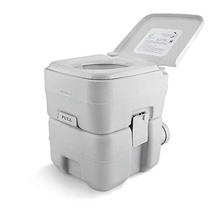 SEEZSSA 24 L Portable Camping Toilets with Clean Brush, Outdoor Indoor Commode Porta Potty w/Double Way Pistol Flush Outlet Rotating Spout & Removable Tank for Hiking Travel RV Caravan
