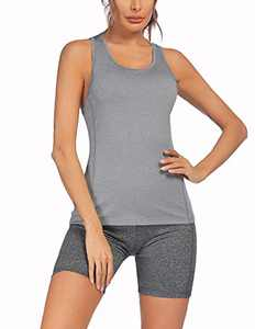 COOrun Workout Outfits Sets for Women Casual Shirts Tops and Biker Shorts Sports Activewear