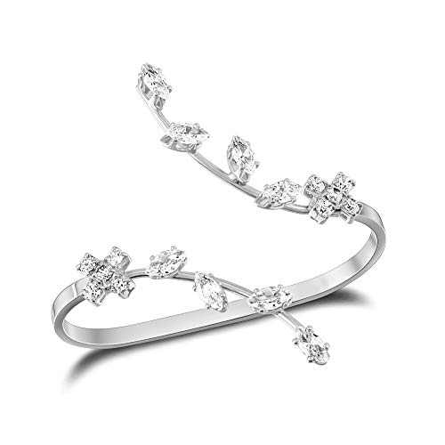 Mytys Gold Silver Fashion Slave Bracelet CZ Cubic Zirconia Ring Bracelet Adjustable Hand Chain Jewelry with Gift Box (Two Finger Ring)