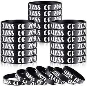 Class of 2021 Wristbands 2021 Graduating Rubber Bracelets Graduation Celebrating Bracelet for Senior Teacher Students 2021 Graduate Friends, Graduation Party Supplies (48 Pieces)