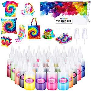 Tie Dye Kit,26 Colors Fabric Dye Kits for Kids, Adults and Groups with Rubber Bands, Gloves, Funnel, Apron,Table Covers and Spray nozzles Add Water Only for Party Gathering Festival User-Friendly