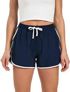"DEMOZU Women's 3"" Athletic Shorts Quick Dry Sports Workout Running Exercise Gym Track Shorts with Pockets, Navy Blue, M"