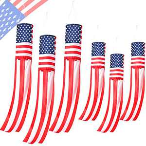 40 Inch and 60 Inch USA Flag Windsock American Flag Outdoor Windsock with Hoop Embroidered Stars and Stripes USA Patriotic Decorations Hanging Banner 4th of July Decor (6)