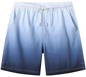 Tyhengta Mens Printed Swim Trunks Quick Dry Beach Shorts with Mesh Lining Black 36