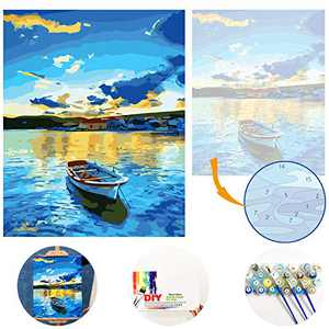 Paint by Numbers for Adults Beginner Kits on Colored Canvas Easy to Read Acrylic Painting by Number 16x20 inch Without Framed 3 Brushes Arts Craft Home Wall Decor Beach Boat LSPBN