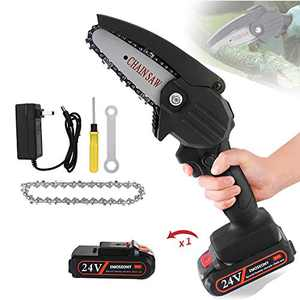 EMOSEONY Mini Chainsaw 4-Inch Cordless Power Chain Saws,Portable 24V Electric Chainsaw,Household Small Handheld Electric Saw for Gardening,Tree Pruning and Wood Cutting,(Black,1 Battery)