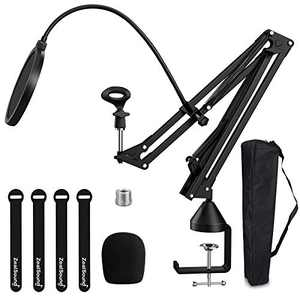 """ZealSound Microphone Arm Stand, Adjustable Suspension Boom Scissor Mic Stand w/Pop Filter, 3/8"""" to 5/8"""" Adapter, Mic Clip Holder, Upgrade Heavy Duty Clamp for Blue Yeti Nano Snowball Ice & Other Mics"""