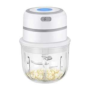 Garlic Chopper with Food Grade Glass Bowl, Easy to Clean Elecrtric Small Meet Mincer, Mini Food Processor Dicer for Garlic & Vegetables - Save Your Prep Time & Effort - Elderly also can Use Easily