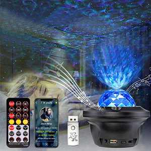 Galaxy Projector Light, Night Light Projector, HEXUP LED Star Projector Color Changing Lamp Rotating Romantic Star Wave Projector Remote Control Bluetooth USB Music Speaker 10 Color Timer Home Stage