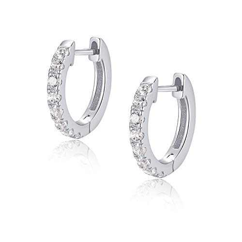 Jewlpire 925 Sterling Silver Huggie Hoop Earrings for Women Girls - 18K White Gold Plated Diamond Cut AAAAA+ CZ Sparkle Hoop Earrings Cuff Stud, Hypoallergenic Girls Cartilage Earrings - Silver