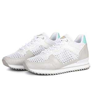 ZASEPY Women's Walking Shoes Mesh Fashion Breathable Lace up Wedge Platform Sneakers Memory Foam Lightweight Casual Sneakers for Gym Travel Work Silver
