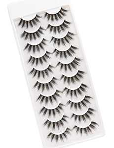 PURELEOR 3D Faux Mink Eyelashes 10 Pairs Natural & Dramatic False Lashes Long Fluffy Eyelash Volume Eye Lash Packs