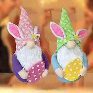 2Pcs Easter Decorations, Easter Gnome Bunny with Easter Egg,Handmade Gnome Faceless Plush Doll, Easter Gifts for Kids/Women/Men, Easter Decorations Ornaments for The Home