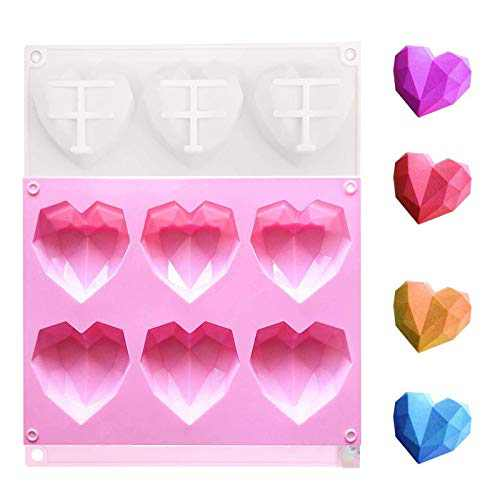Silicone Chocolate Heart Mold, Diamond Heart Shape Candy Cake Mold, 2 PCS Mousse Dessert Baking Pan for Home Kitchen DIY Tools