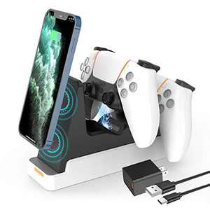 Fudelvy PS5 Controller Charging Station, Playstation5 Controller Charger with Wireless Fast Phone Charging Function, Safety Chip Protection, Touch-Point Compatible with Sony DualSense Controller
