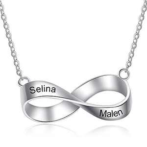 kaululu Custom Mobius Ring Necklace Stainless Steel Pendant Chain Necklace for Women Men with 2/3/4 Names Engraved (2 Names)