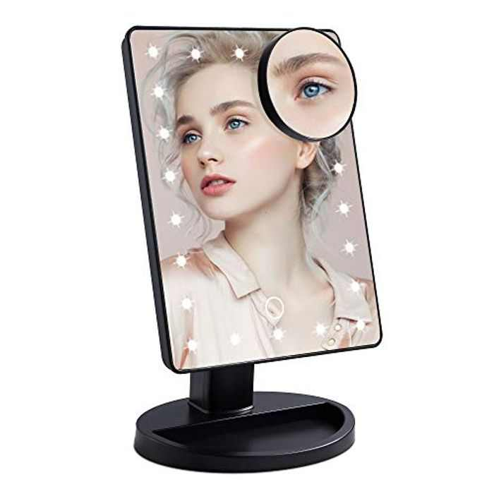 Wopeite Makeup Mirror with Light 22 LED Lights Makeup Vanity Mirror 10X Magnification with Touch Sensor Dimming Mode 180° Free Rotation Dual Power Supply Black
