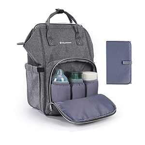 Baby Diaper Bag Backpack, Portable Multifunctional Unisex Travel Maternity Nappy Bags for Mom and Dad Include Insulated Pocket, Changing Pad, Stroller Straps and Elastic Luggage Strap for Travel Grey