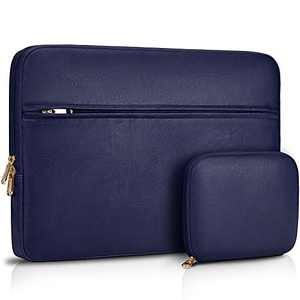 Laptop Sleeve Case 15-15.6 inch Waterproof Computer Tablet Carrying Sleeve Leather Laptop Bag Compatible with 15.6 inch MacBook Pro/Air Notebook,Blue