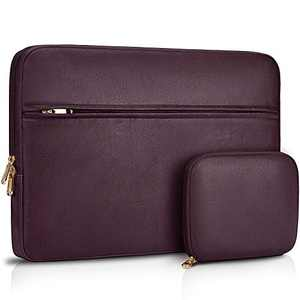 Laptop Sleeve Case 13-14 inch Waterproof Computer Tablet Carrying Sleeve Leather Laptop Bag Compatible with 13 inch MacBook Pro/Air Notebook,Wine Red