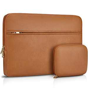 Laptop Sleeve Case 15-15.6 inch Waterproof Computer Tablet Carrying Sleeve Leather Laptop Bag Compatible with 15.6 inch MacBook Pro/Air Notebook,Brown