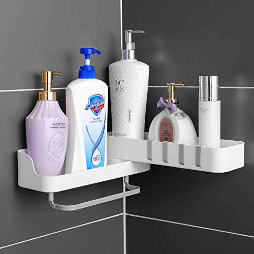 Shower Caddy Basket Shelf with 4 Hooks,180° Rotatable Corner Shower Caddy,Caddy Organizer Wall Mounted Basket with Adhesive,No Drilling,with Towel Bar,Racks Strong and Sturdy for Bathroom Kitchen Caddy(gray)