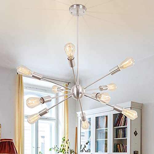 LWYTJO 10 Lights Sputnik Chandelier, Modern Industrial Pendant Lighting, Vintage Ceiling Light Fixture, Semi Flush Hanging Lamps for Dining & Living Room Bedroom Kitchen Hallway Restaurant Bar, Nickel