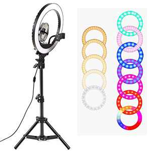 10.2'' Ring Light with Tripod Stand and Phone Holder, LTRINGYS Selfie Led Ring Light with 7 RGB Flash Lights Desktop Light Ring Dimmable with Mirror for YouTube Video Recording US Plug