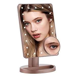DUFU Makeup Mirror with 22 LED Lights Makeup Vanity Mirror, 10X Magnifying Lights Tabletop Makeup Mirror Dual Power Supply Touch Screen, Dimmable 180° Adjustable Rotation Travel Cosmetic Mirror Gold