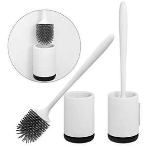 DUFU Toilet Brushes and Holder Bathroom Toilet Brush Cleaning Brush Kit, Deep Cleaner Silicone Toilet Brushes with No-Slip Long Plastic Handle and Soft Bristle Brush 2 pack, Mounted Wall Design
