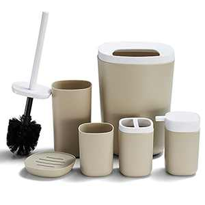 DUFU Bathroom Accessory Set, 6 Pieces Plastic Bath Accessories, Modern Vanity Organiser Kit, Contain Toilet Brush, Toothbrush Holder, Plastic Cup, Soap Dish, Trash Can, Lotion Dispenser Beige