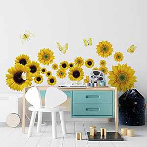 Supzone Sunflower Wall Decals with Butterfly Yellow Sunflower Wall Stickers Flowers Vinyl Sticker for Wall Decor Self-Adhesive Wall Art for Bedroom TV Backdrop Wall Mural Decal