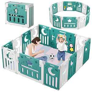Baby Playpen, Dripex Upgrade Foldable Kids Activity Centre Safety Play Yard Home Indoor Outdoor Baby Fence Play Pen NO Gaps with Gate for Baby Boys Girls Toddlers (14 Panel, Deep Green)