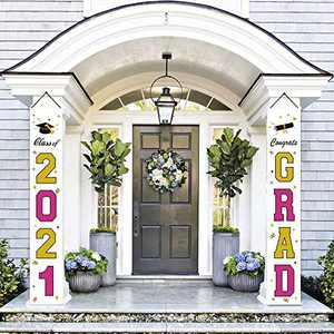 FAHZON Graduation Decorations Banners - Class of 2020 & Congrats Graduation Hanging Banner Set for Outdoor/Indoor Home Front Door Wall, Great Fabric Porch Sign