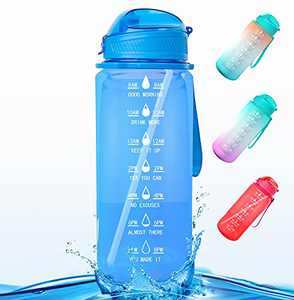 Water Bottle, Half Gallon/64 oz Motivational Water Bottle with Time Marker Reminder and Straw, Large Hydration Water Bottle, Sports Daily Water Bottle (Dark Blue)