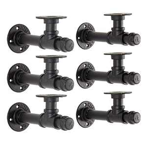 YCCO Pipe Shelf Bracket Industrial DIY L Pipe Wall Bracket for 10 inch Wood Floating Shelf Vintage Look Rustic Home Pipe Decor 6 Packs, Included Accessories