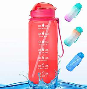 Water Bottle, Half a Gallon/64oz Motivational Water Bottle with Time Marker Reminder and Straw, Large Hydration Water Bottle, Sports Daily Water Bottle (Rose Pink)