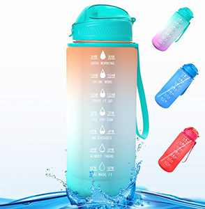 Water Bottle, Half Gallon/64oz Motivational Water Bottle with Time Marker Reminder and Straw, Large Hydration Water Bottle, Sports Daily Water Bottle (Orange Green)