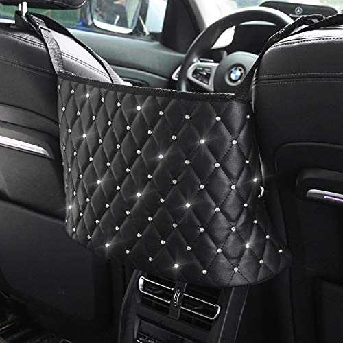 Car Net Pocket Handbag Holder ,Leather Car Purse Holder Between Seats,Large Capacity Mesh Bag, Driver Backseat Storage Organizer, Barrier of Backseat Pet Kids (Black&Diamond)