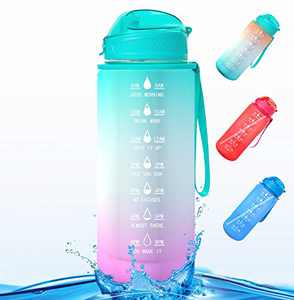 Water Bottle Half Gallon/64 oz Motivational Water Bottle with Time Marker Reminder and Straw Large Hydration Water Bottle, Sports Daily Water Bottle (Green Purple)