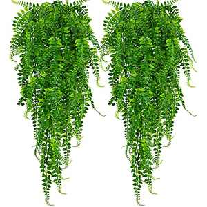 Huryfox 2 Pack Artificial Hanging Plants for Fall Decor Home Décor Fake Plants Faux Greenery Ivy Garland Wall Decoration for Indoor & Outdoor