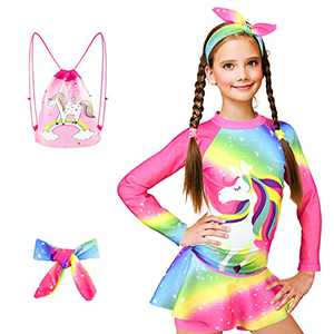 ZukoCert Girls Sunsuit Swimwear Sets Kids Long Sleeve 2 Piece Rash Guard Swimsuits 2-10 Years Surfing Swimsuits for Girls(CHBM_M)