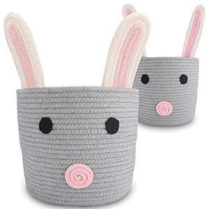 "Haidms 2Pack Nursery Hamper Baby Gift Basket, Haidms Cat Basket Kids Toy Storage Basket Organizer, Small Woven Cotton Rope Basket,Baby Nursery Hamper 12""×10"" & 8""×7"""